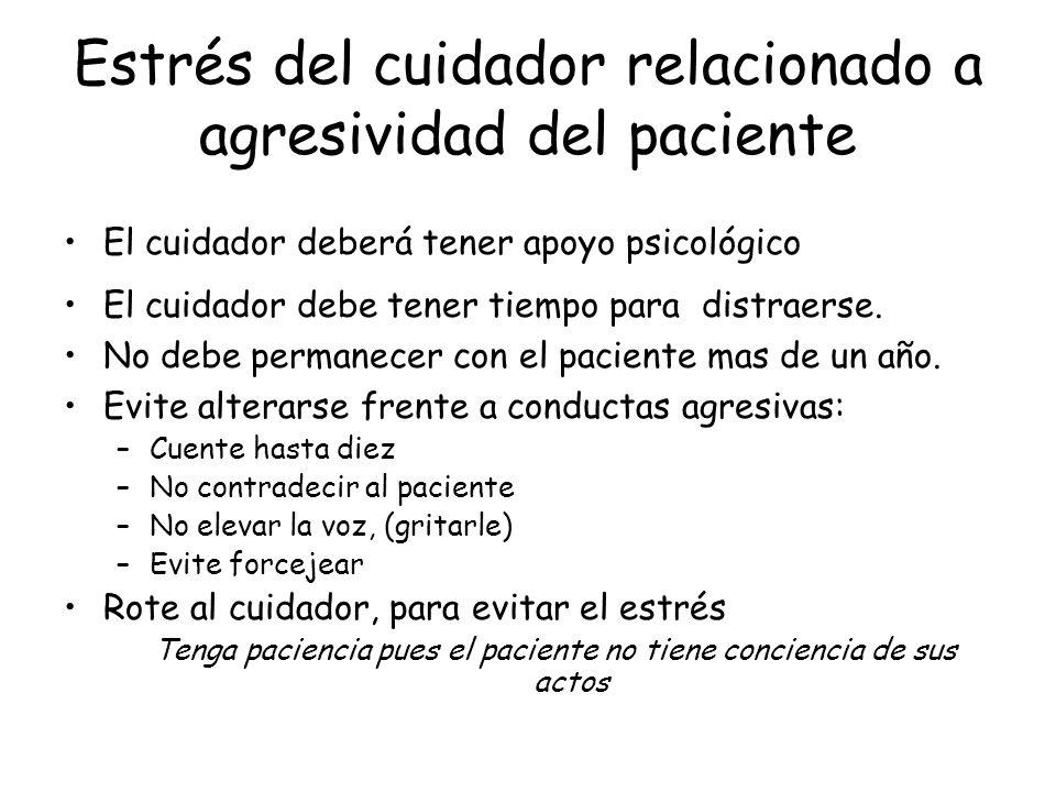 Estrés del cuidador relacionado a agresividad del paciente