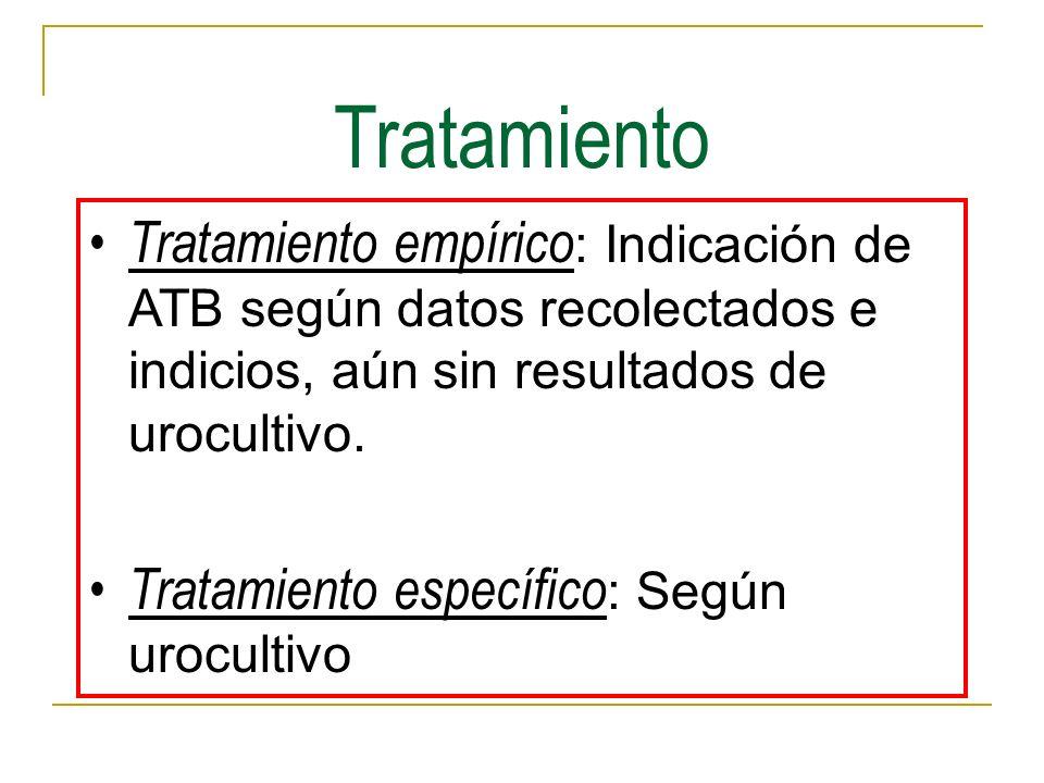 Tratamiento Tratamiento empírico: Indicación de ATB según datos recolectados e indicios, aún sin resultados de urocultivo.