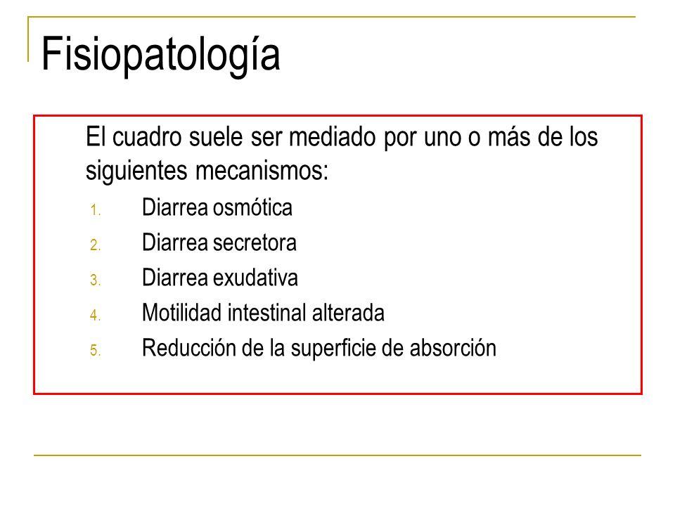 Fisiopatología El cuadro suele ser mediado por uno o más de los siguientes mecanismos: Diarrea osmótica.