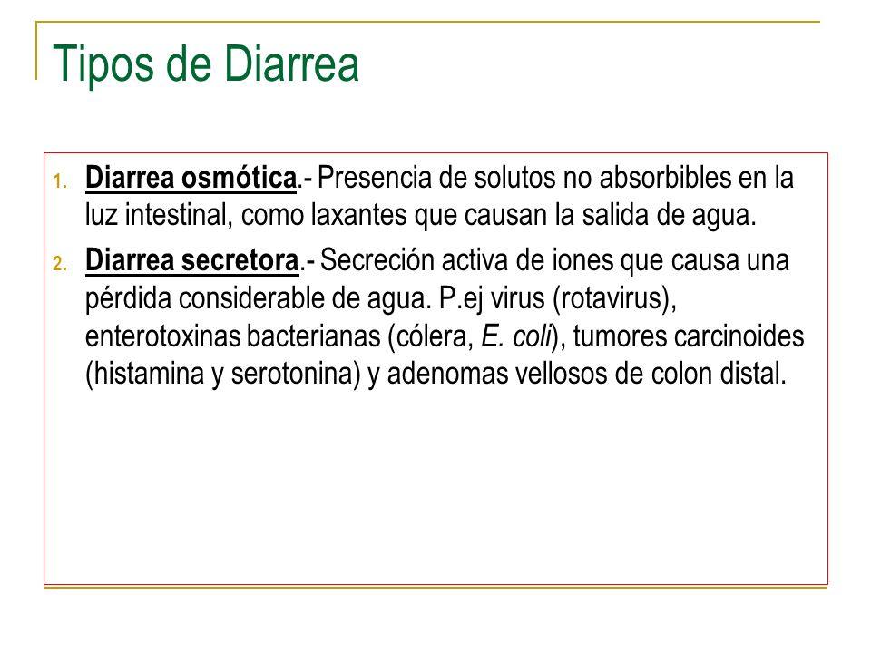 Tipos de Diarrea Diarrea osmótica.- Presencia de solutos no absorbibles en la luz intestinal, como laxantes que causan la salida de agua.