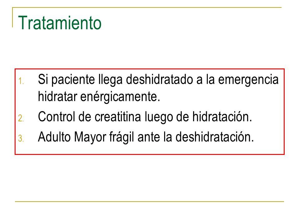 TratamientoSi paciente llega deshidratado a la emergencia hidratar enérgicamente. Control de creatitina luego de hidratación.