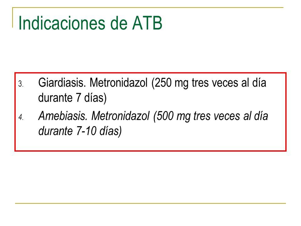 Indicaciones de ATB Giardiasis. Metronidazol (250 mg tres veces al día durante 7 días)
