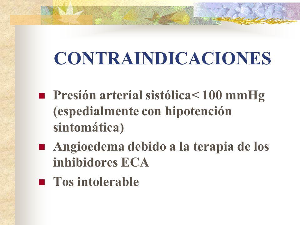 CONTRAINDICACIONES Presión arterial sistólica< 100 mmHg (espedialmente con hipotención sintomática)