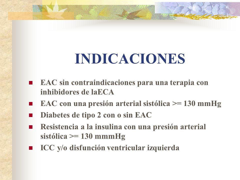 INDICACIONES EAC sin contraindicaciones para una terapia con inhibidores de laECA. EAC con una presión arterial sistólica >= 130 mmHg.