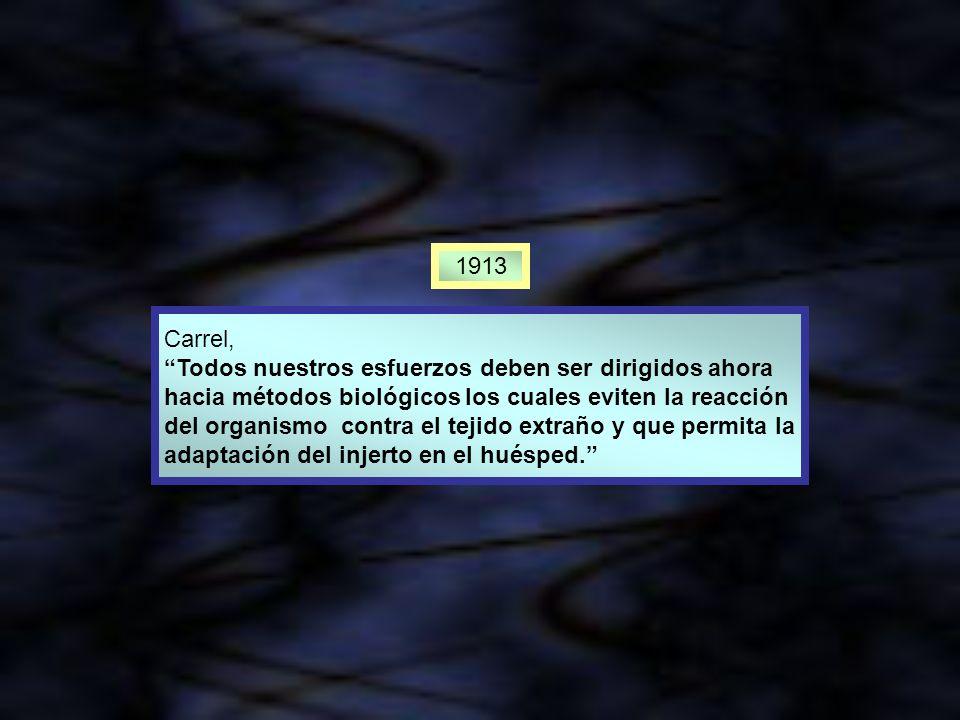 1913 Carrel, Todos nuestros esfuerzos deben ser dirigidos ahora. hacia métodos biológicos los cuales eviten la reacción.