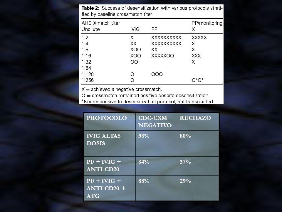 PROTOCOLO CDC-CXM NEGATIVO. RECHAZO. IVIG ALTAS DOSIS. 38% 80% PF + IVIG + ANTI-CD20. 84% 37%