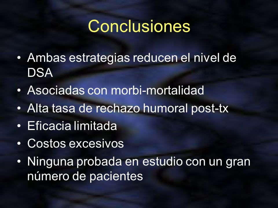 Conclusiones Ambas estrategias reducen el nivel de DSA