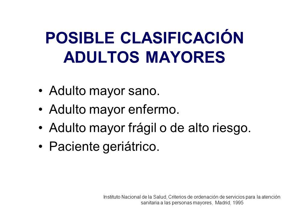POSIBLE CLASIFICACIÓN ADULTOS MAYORES