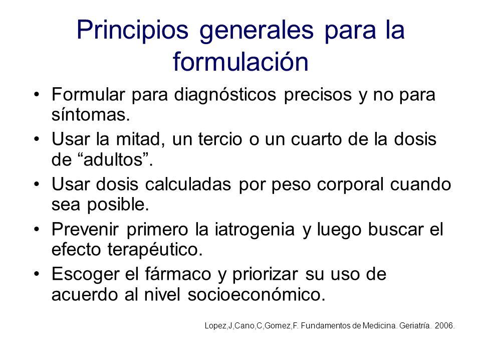 Principios generales para la formulación