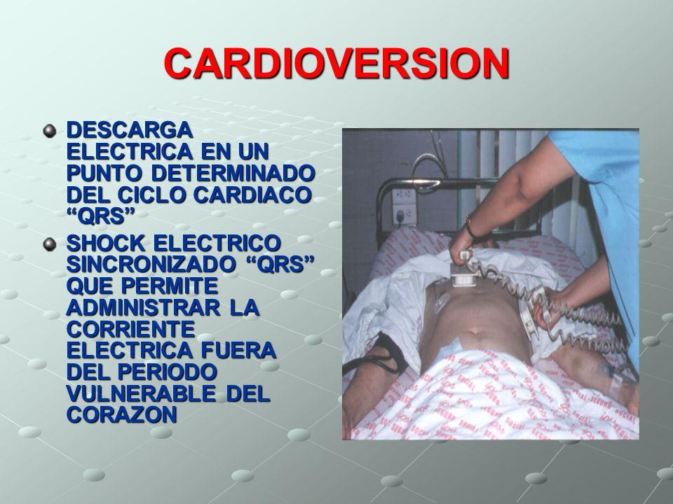 CARDIOVERSIONDESCARGA ELECTRICA EN UN PUNTO DETERMINADO DEL CICLO CARDIACO QRS