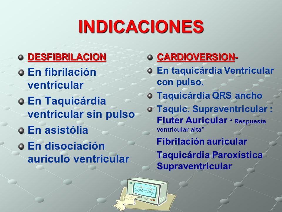 INDICACIONES En fibrilación ventricular