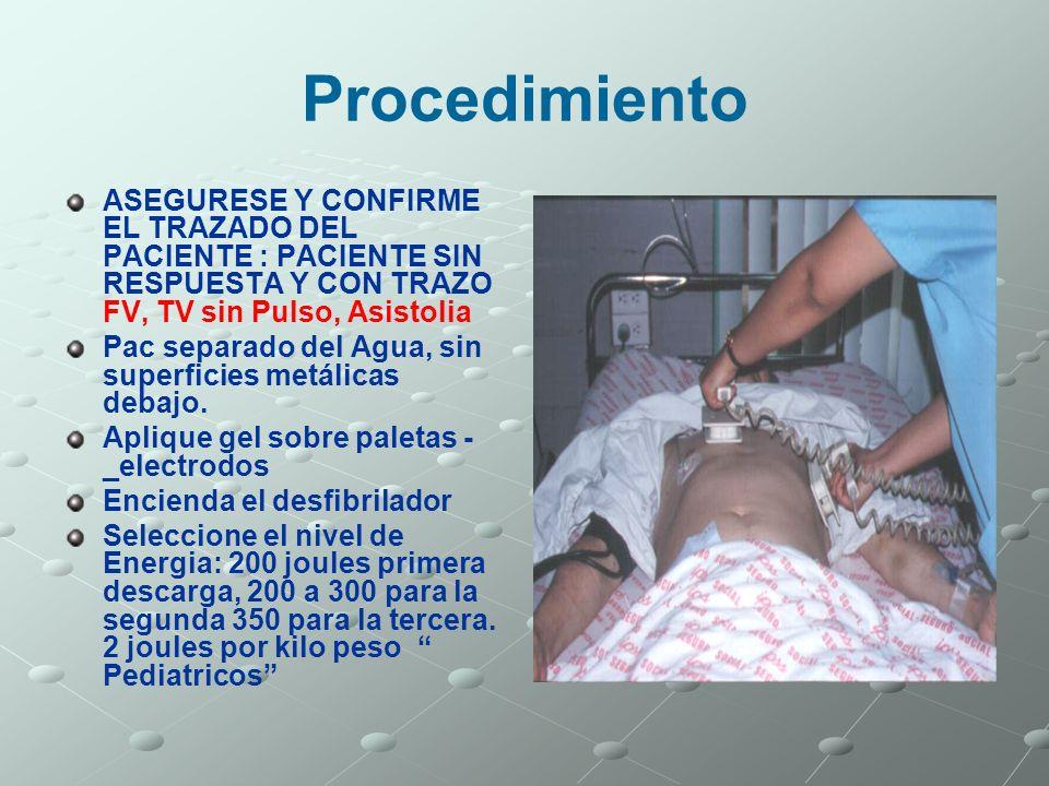 ProcedimientoASEGURESE Y CONFIRME EL TRAZADO DEL PACIENTE : PACIENTE SIN RESPUESTA Y CON TRAZO FV, TV sin Pulso, Asistolia.