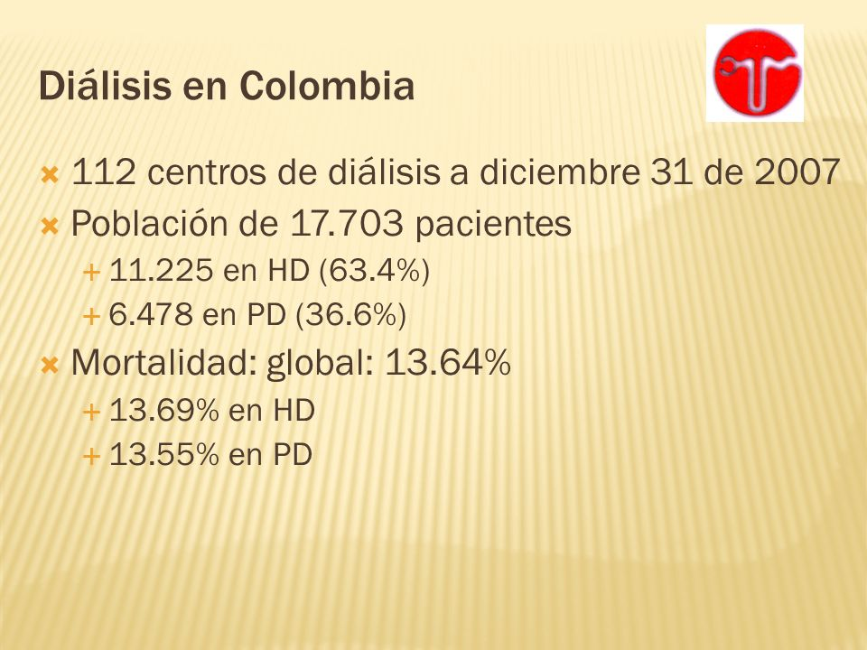 Diálisis en Colombia 112 centros de diálisis a diciembre 31 de 2007