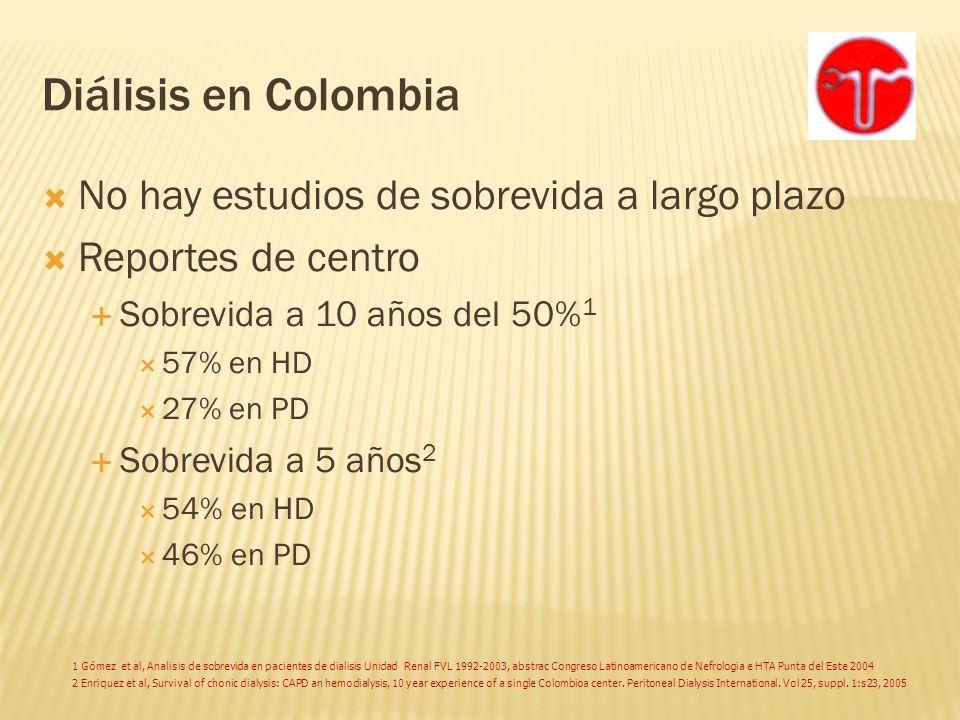 Diálisis en Colombia No hay estudios de sobrevida a largo plazo