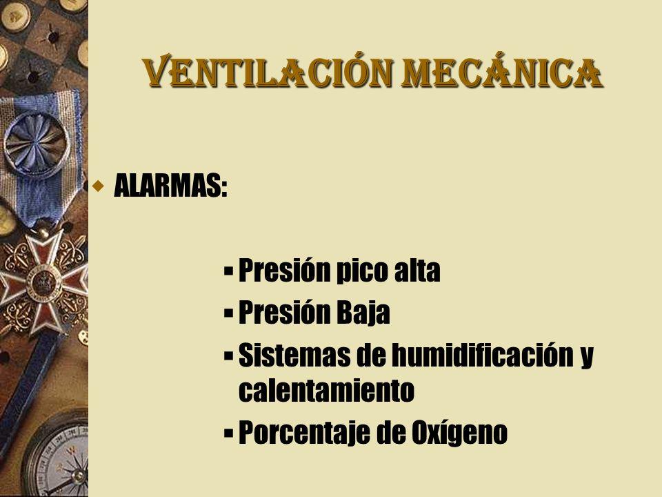 VENTILACIÓN MECÁNICA ALARMAS: Presión pico alta Presión Baja