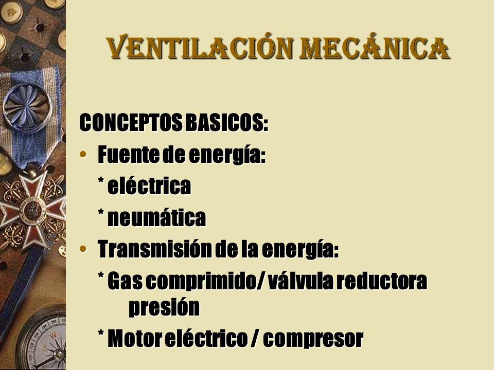 VENTILACIÓN MECÁNICA CONCEPTOS BASICOS: Fuente de energía: * eléctrica