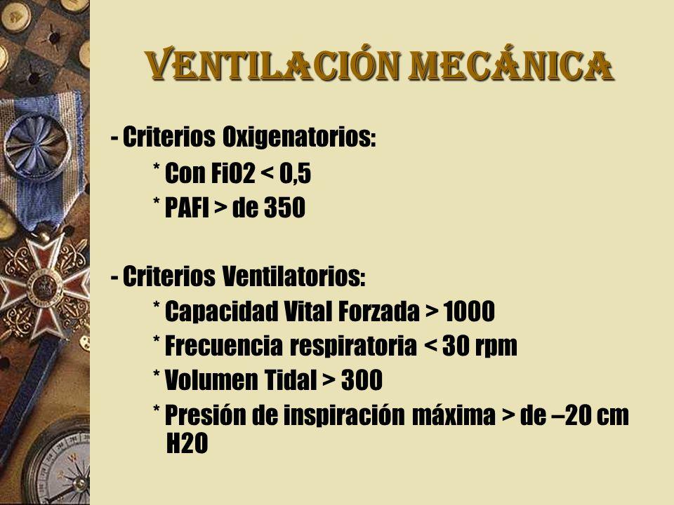 VENTILACIÓN MECÁNICA - Criterios Oxigenatorios: * Con FiO2 < 0,5
