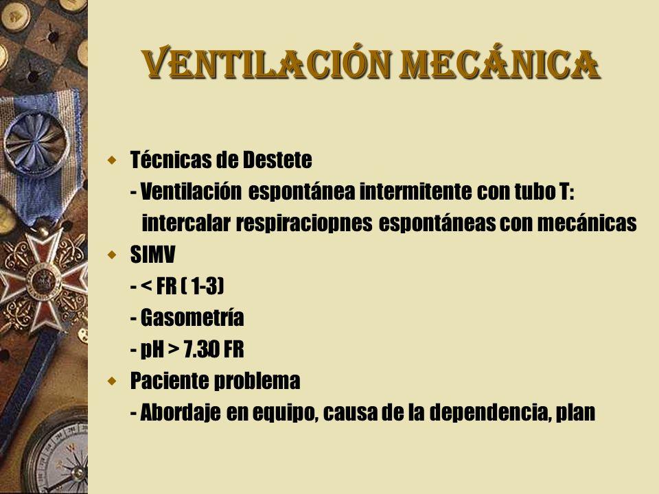 VENTILACIÓN MECÁNICA Técnicas de Destete