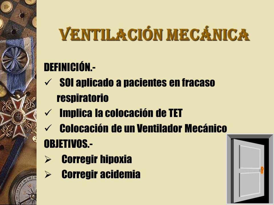 VENTILACIÓN MECÁNICA DEFINICIÓN.- SOI aplicado a pacientes en fracaso