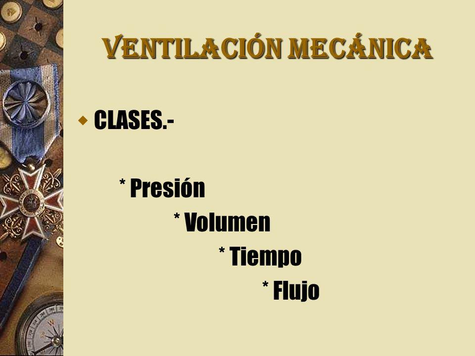 VENTILACIÓN MECÁNICA CLASES.- * Presión * Volumen * Tiempo * Flujo