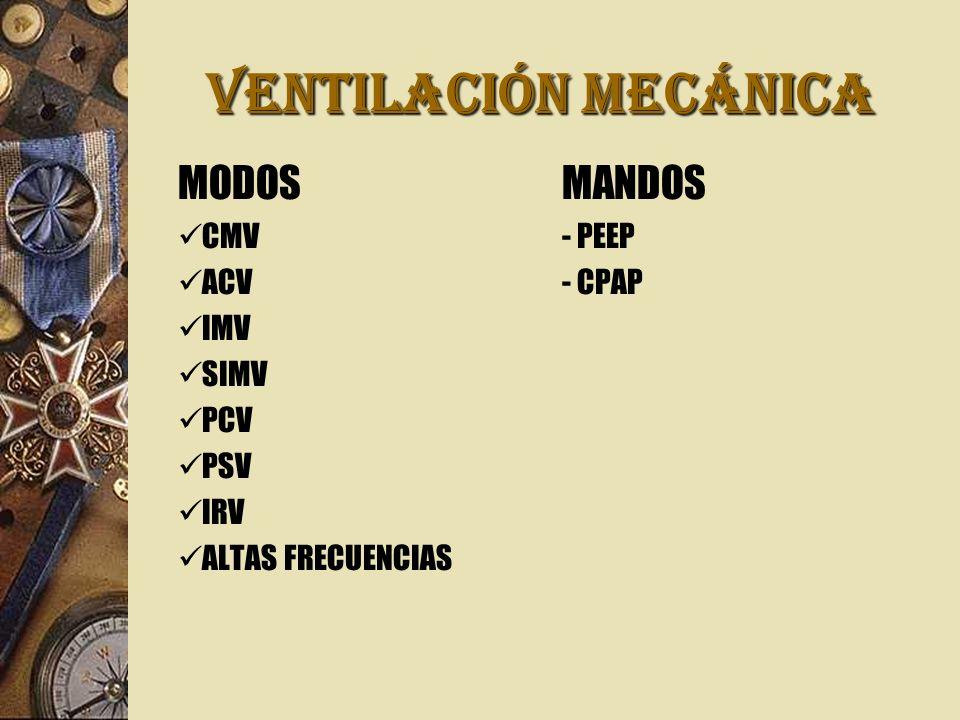 VENTILACIÓN MECÁNICA MODOS MANDOS CMV - PEEP ACV - CPAP IMV SIMV PCV