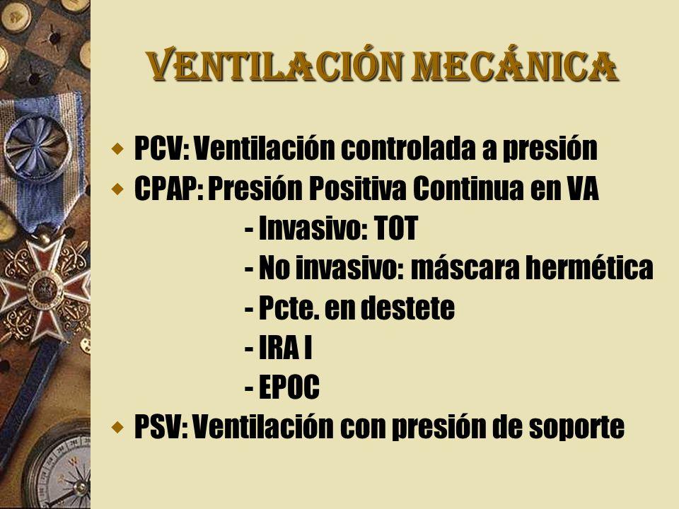 VENTILACIÓN MECÁNICA PCV: Ventilación controlada a presión