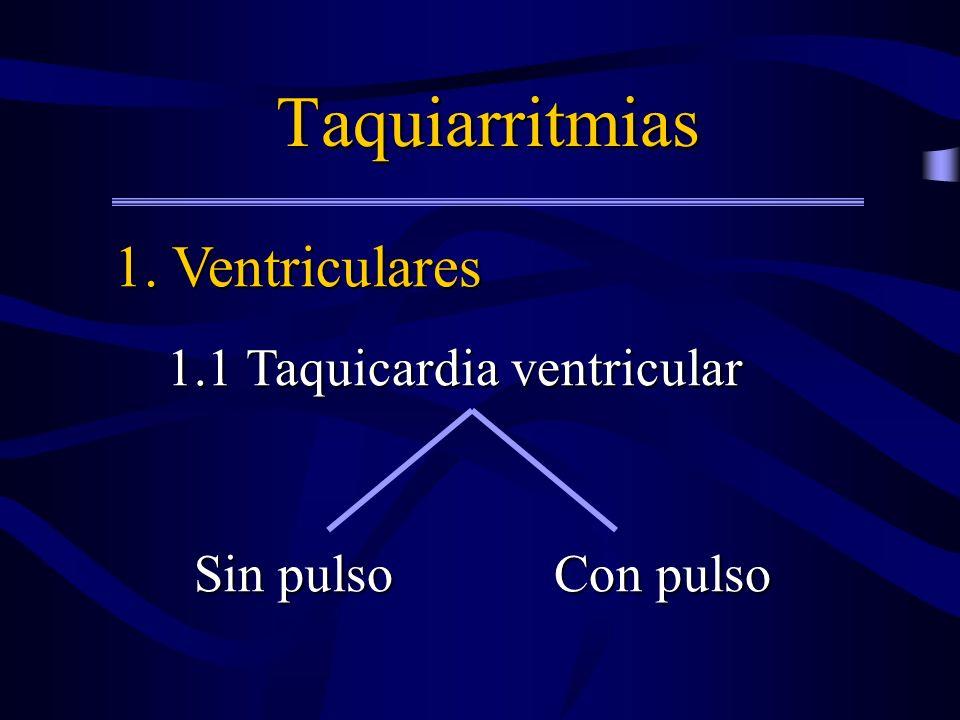 Taquiarritmias 1. Ventriculares 1.1 Taquicardia ventricular Sin pulso