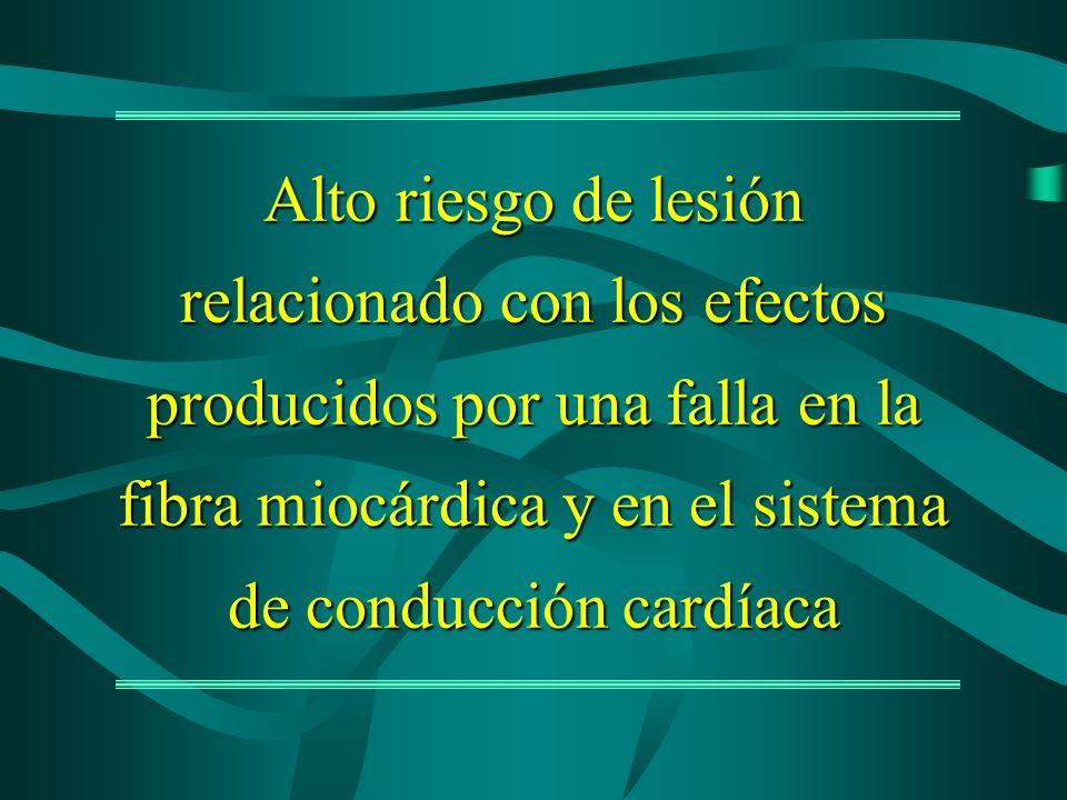 Alto riesgo de lesión relacionado con los efectos producidos por una falla en la fibra miocárdica y en el sistema de conducción cardíaca