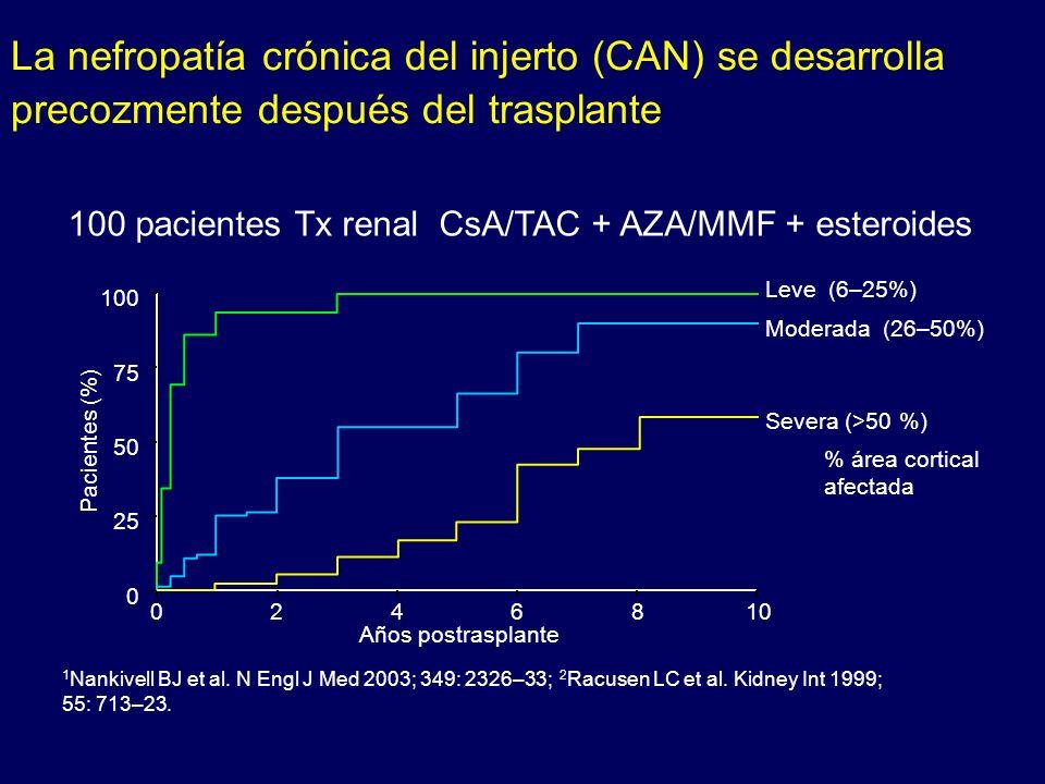 100 pacientes Tx renal CsA/TAC + AZA/MMF + esteroides