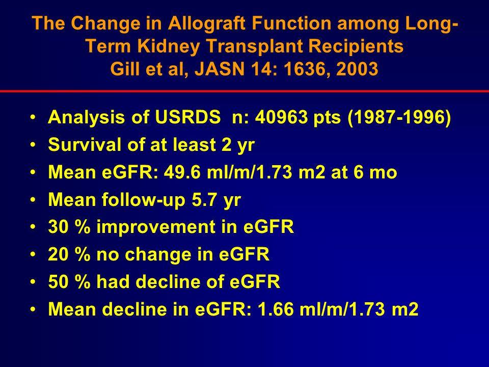 The Change in Allograft Function among Long-Term Kidney Transplant Recipients Gill et al, JASN 14: 1636, 2003