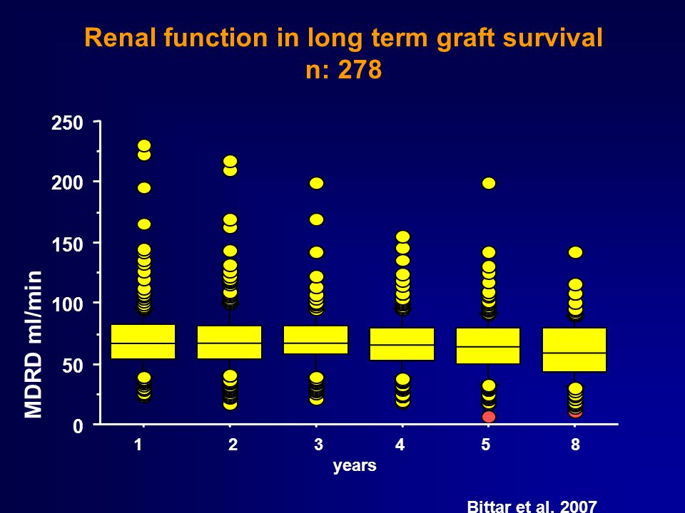 Renal function in long term graft survival