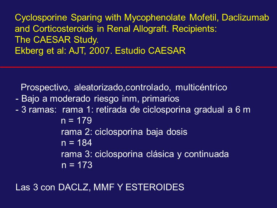 Cyclosporine Sparing with Mycophenolate Mofetil, Daclizumab and Corticosteroids in Renal Allograft. Recipients:
