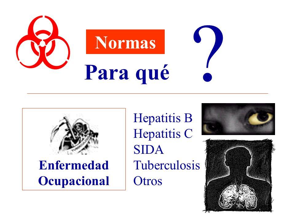 Para qué Normas Enfermedad Ocupacional Hepatitis B Hepatitis C SIDA
