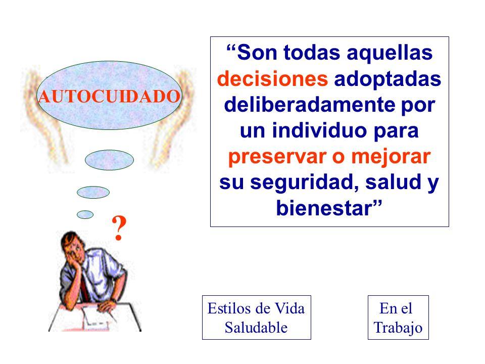 Son todas aquellas decisiones adoptadas deliberadamente por un individuo para preservar o mejorar su seguridad, salud y bienestar