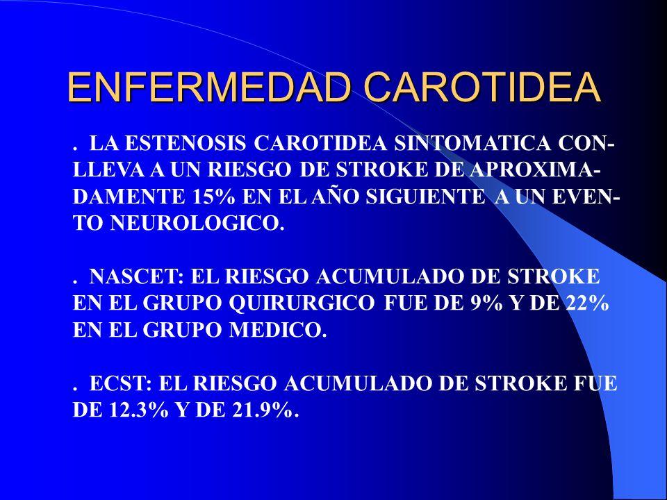 ENFERMEDAD CAROTIDEA . LA ESTENOSIS CAROTIDEA SINTOMATICA CON-