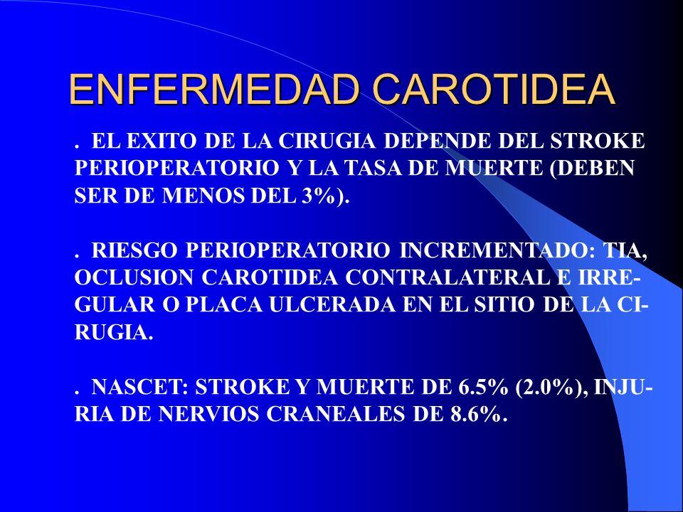 ENFERMEDAD CAROTIDEA . EL EXITO DE LA CIRUGIA DEPENDE DEL STROKE