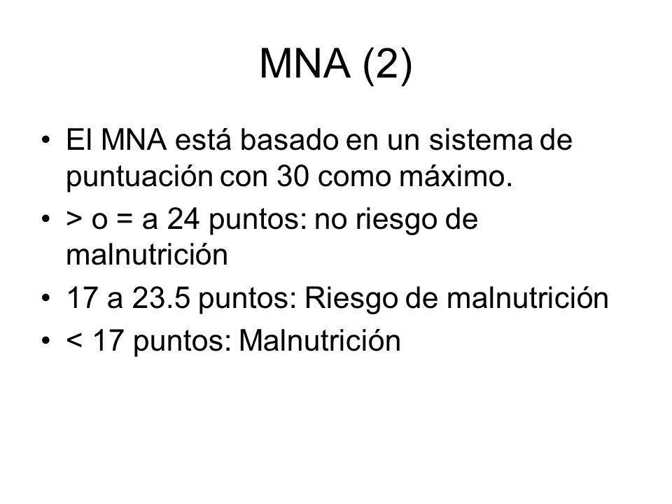MNA (2) El MNA está basado en un sistema de puntuación con 30 como máximo. > o = a 24 puntos: no riesgo de malnutrición.