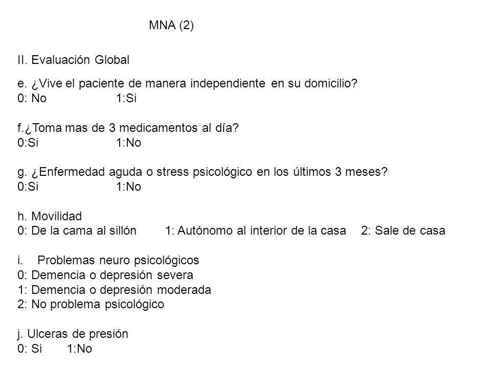MNA (2) II. Evaluación Global. e. ¿Vive el paciente de manera independiente en su domicilio 0: No 1:Si.