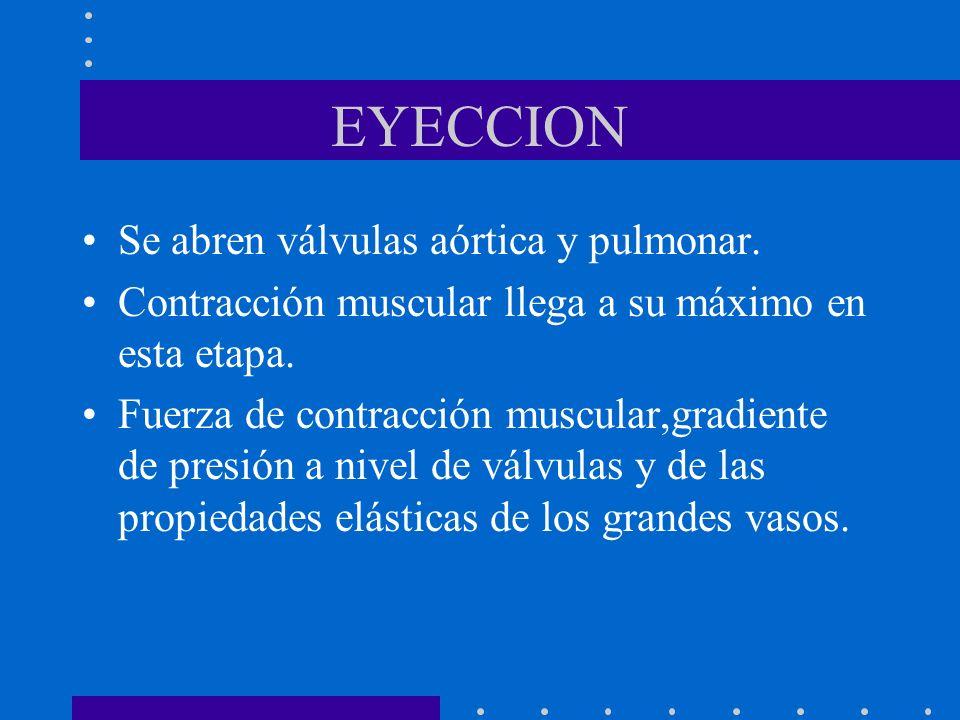 EYECCION Se abren válvulas aórtica y pulmonar.