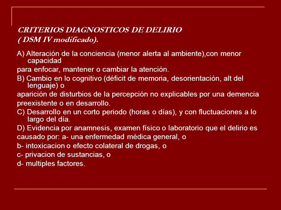 CRITERIOS DIAGNOSTICOS DE DELIRIO ( DSM IV modificado).