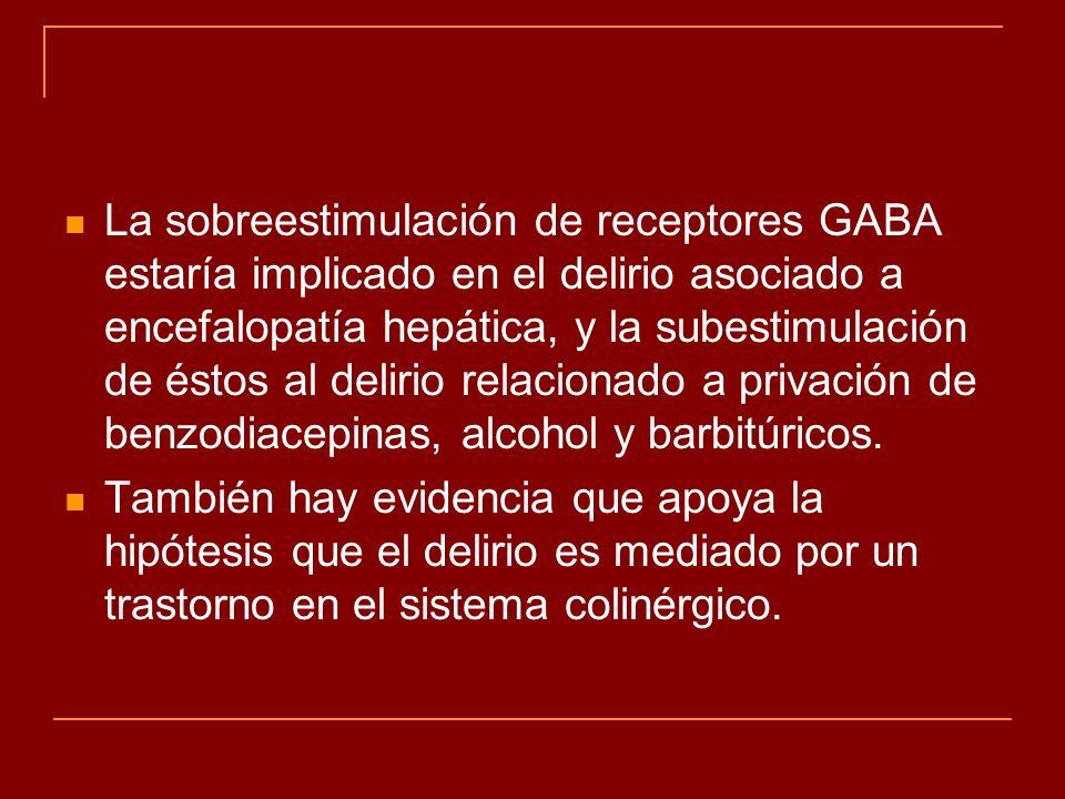 La sobreestimulación de receptores GABA estaría implicado en el delirio asociado a encefalopatía hepática, y la subestimulación de éstos al delirio relacionado a privación de benzodiacepinas, alcohol y barbitúricos.