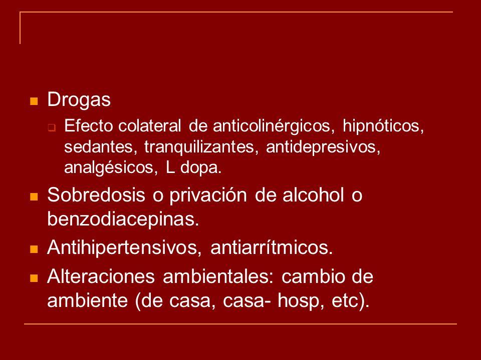 Sobredosis o privación de alcohol o benzodiacepinas.