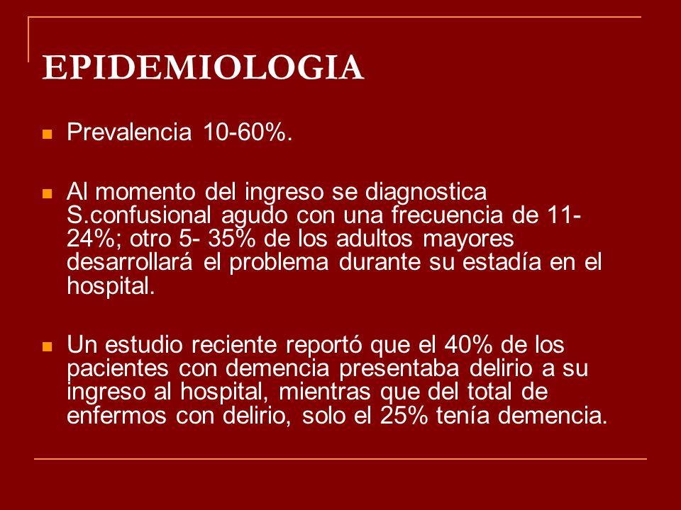 EPIDEMIOLOGIA Prevalencia 10-60%.
