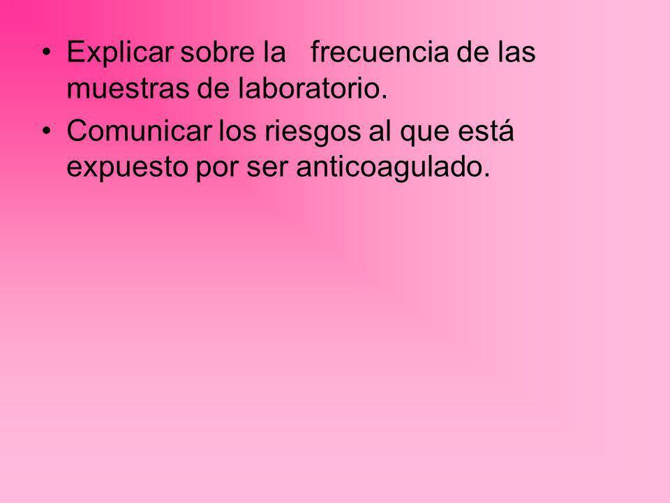 Explicar sobre la frecuencia de las muestras de laboratorio.