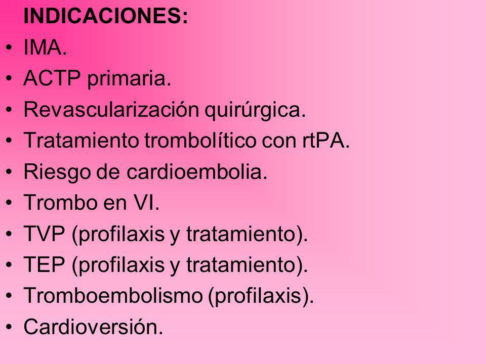 INDICACIONES: IMA. ACTP primaria. Revascularización quirúrgica. Tratamiento trombolítico con rtPA.