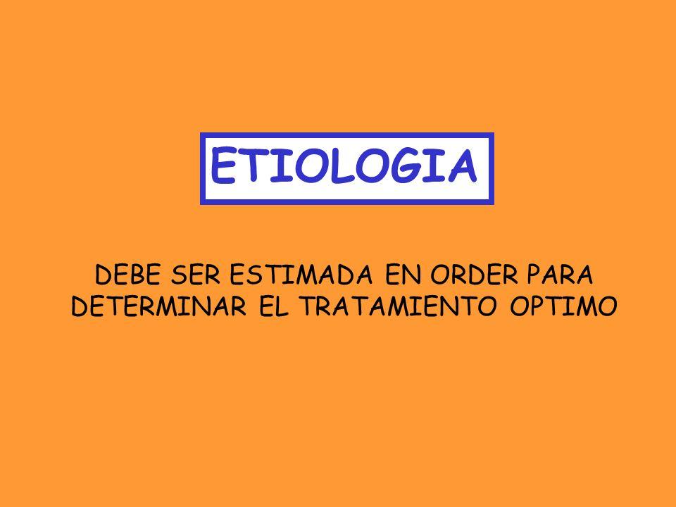ETIOLOGIA DEBE SER ESTIMADA EN ORDER PARA
