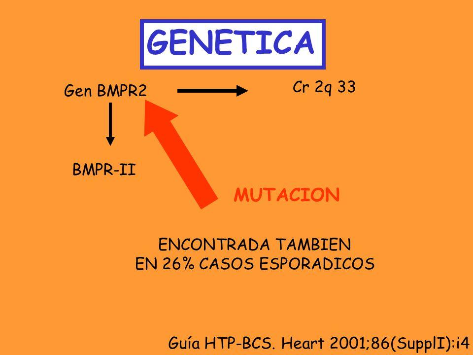 GENETICA MUTACION Cr 2q 33 Gen BMPR2 BMPR-II ENCONTRADA TAMBIEN