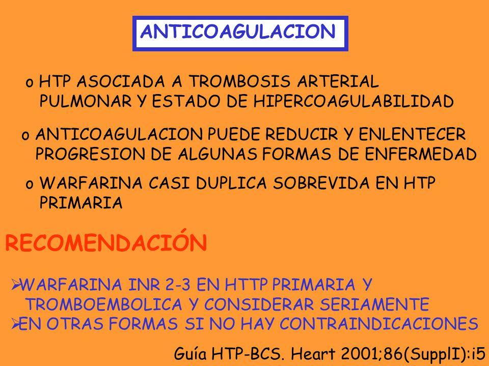 RECOMENDACIÓN ANTICOAGULACION HTP ASOCIADA A TROMBOSIS ARTERIAL