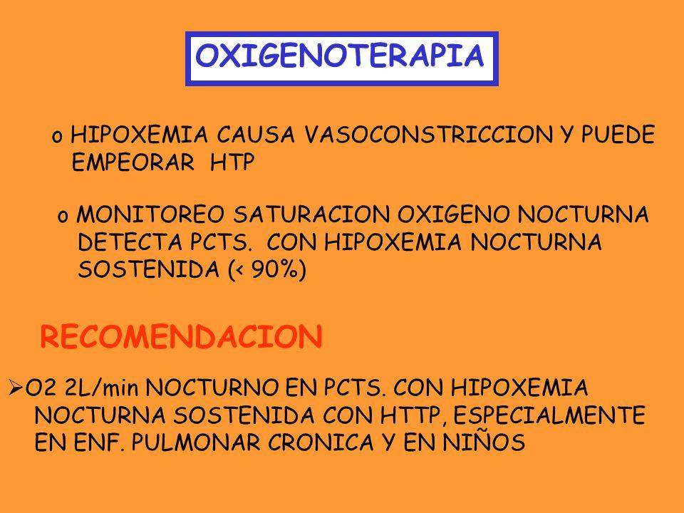 OXIGENOTERAPIA RECOMENDACION HIPOXEMIA CAUSA VASOCONSTRICCION Y PUEDE