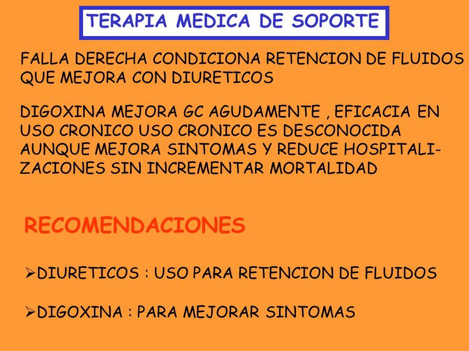 RECOMENDACIONES TERAPIA MEDICA DE SOPORTE